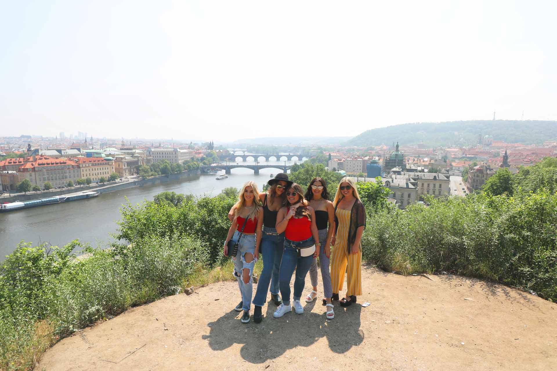 Prague bridges parade view from Letna
