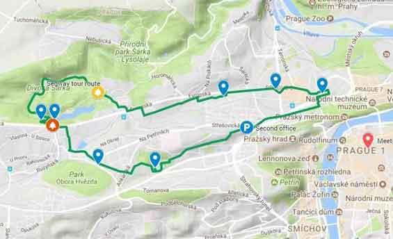 Prague Canyons segway tour map